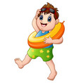 cartoon little boy with lifebuoy walking vector image vector image