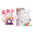 cat in scales - coloring page vector image vector image