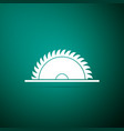 circular saw blade icon on green background vector image