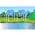 city park clean energy wind turbines river green vector image