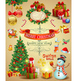 collection christmas ornaments vector image