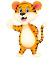 Cute tiger cartoon giving thumbs up vector image vector image