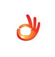 delicious tasty hand symbol logo vector image