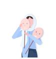 depressed arabian woman holding positive mask girl vector image