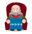 elderly man sitting in an easy chair under the vector image