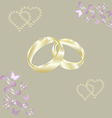 Engagement rings gold hearts vector image