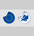 europe sticker with flag and map european union vector image