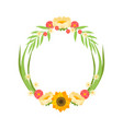 floral wreath with flowers circle frame with vector image