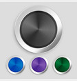 four realistic brushed metallic buttons set vector image vector image