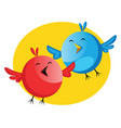funny blue and red bird singing easter song web vector image vector image