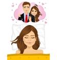 girl lying with closed eyes in bed at home vector image vector image