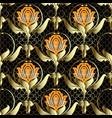 gold 3d ornate damask seamless pattern vector image