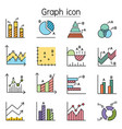 graph chart diagram data infographic icon set vector image