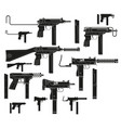 graphic silhouette modern submachine guns vector image vector image