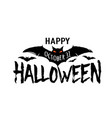 happy halloween text banner silhouette vector image vector image