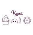 kawaii cactus in a pot design vector image vector image