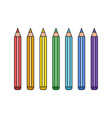line rainbow pencil set vector image vector image