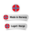 made in norway label set vector image vector image