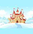 medieval castle on winter landscape cartoon vector image vector image