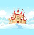 medieval castle on winter landscape cartoon vector image