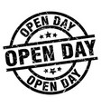 open day round grunge black stamp vector image vector image