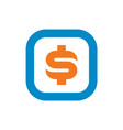 orange square dollar money symbol vector image