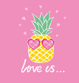 pineapple with glasses tropical design exotic vector image vector image