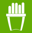 portion of french fries icon green vector image vector image
