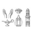 praying hands arabic lampdates fruit minaret vector image