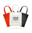realistic detailed 3d tote bag color set vector image vector image