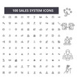 sales system editable line icons 100 set vector image vector image