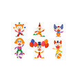 set of funny clowns in different actions cartoon vector image vector image