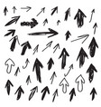 set of scribbled arrows collection vector image