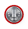 silver 2st place rosette badge medal vector image vector image