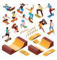 skateboarding park constructor set vector image vector image