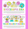 successful idea and brainstorming team color cards vector image vector image