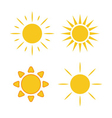 Sun icons set white light vector image vector image
