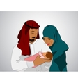 traditional Muslim family vector image vector image