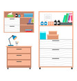 veterinary clinic equipment table lamp cabinet vector image