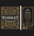 vintage liquor labels front and back side vector image vector image