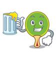 with juice ping pong racket mascot cartoon vector image vector image