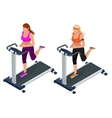 Woman on a running simulator Pretty girl working vector image vector image