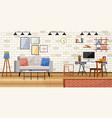 workplace room modern bright interior cabinet vector image vector image