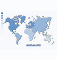 world map blue gradient color with modern simple vector image