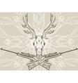Deer skull and crossed rifles vector image