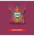 robot artist flat design vector image