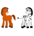 a horse and zebra vector image vector image