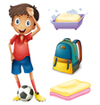 A soccer player with his backpack and bathroom vector image