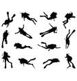black silhouette diver vector image vector image