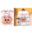 cat in pumpkin - poster and merchandising vector image vector image